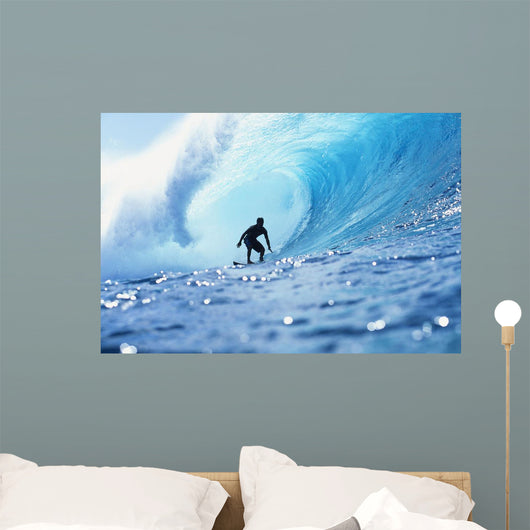 Hawaii, Oahu, North Shore, Silhouette Of Surfer In Pipeline Barrel Wall Mural