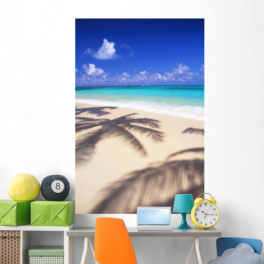 Tropical Beach Scene With Palm Shadow On Shoreline Sand Wall Mural