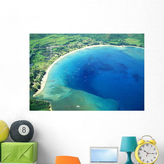 Hawaii, Kauai, Aerial Of Hanalei Bay, Boats In Ocean Wall Mural