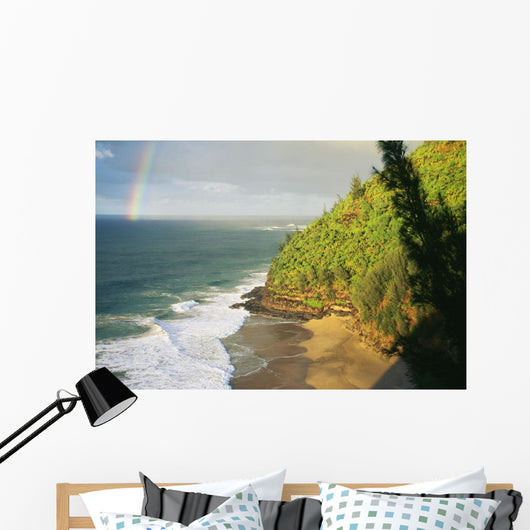 Hawaii, Kauai, Napali Coast, Hanakapiai Beach, Rainbow In Distance Wall Mural