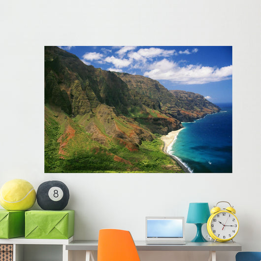 Hawaii, Kauai, Aerial Along Napali Coastline, Rugged Cliffs Wall Mural