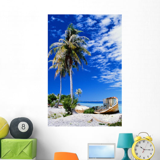 French Polynesia, Beach With Boat Wreck On Shore Wall Mural