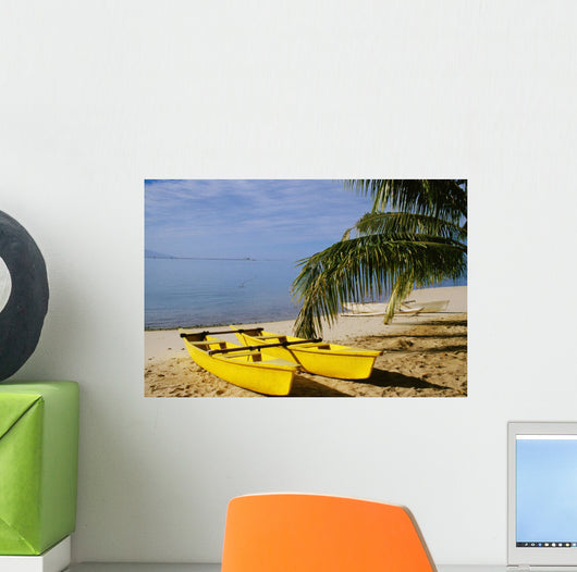 French Polynesia, Rangiroa, Kia Ora, Yellow Double Canoe On Beach Wall Mural