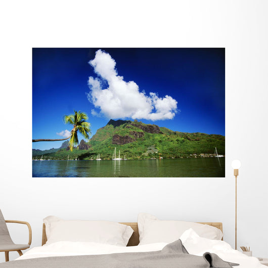 Scenic View Of Island And Puffy Cloud From Ocean Wall Mural