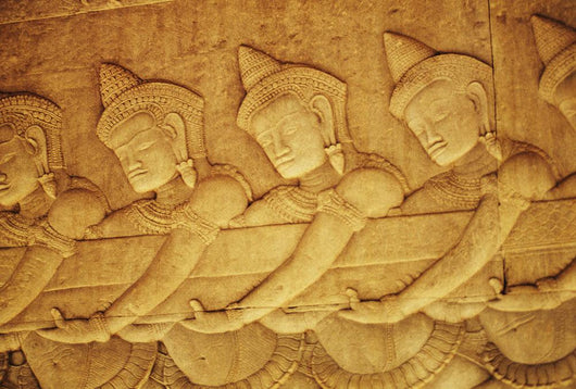 Cambodia, Angkor Wat, Close-Up Of Stone Carvings Wall Mural
