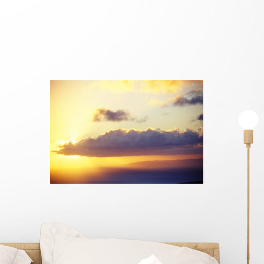 Hawaii, Sunset Over Niihau, From Kauai, Golden Sky Wall Mural