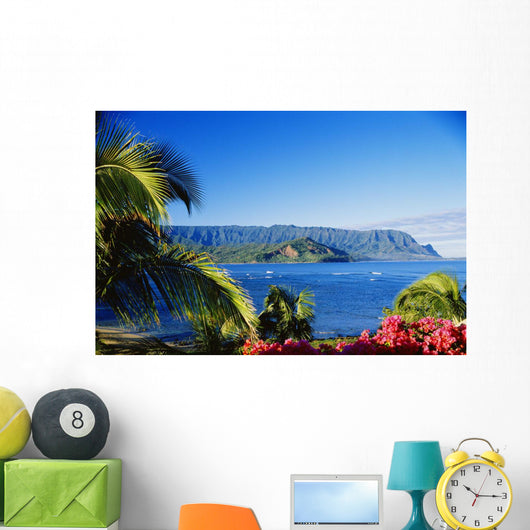 Ocean And Coastline Framed With Flowers And Palms Wall Mural