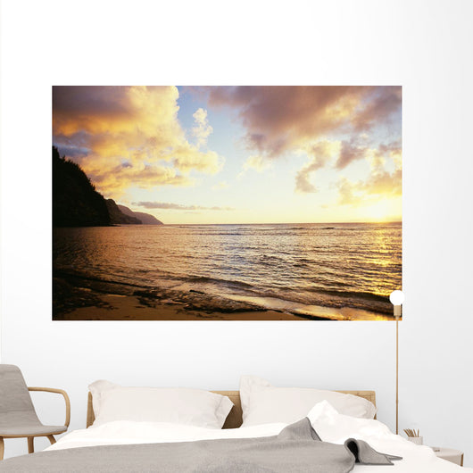 Hawaii, Kauai, Na Pali Coastline, Ke'e Beach At Sunset Wall Mural