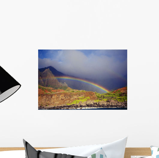 Hawaii, Kauai, Napali Coast, Rainbow Over The Coastline Wall Mural