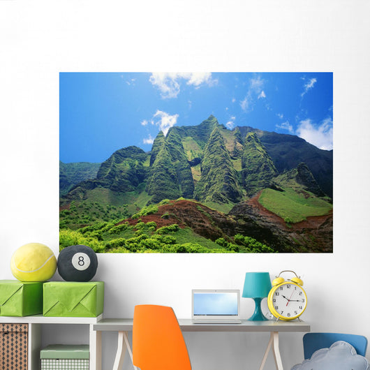 Hawaii, Kauai, Napali Coast, Kalalau Mountains, Blue Sky Wall Mural
