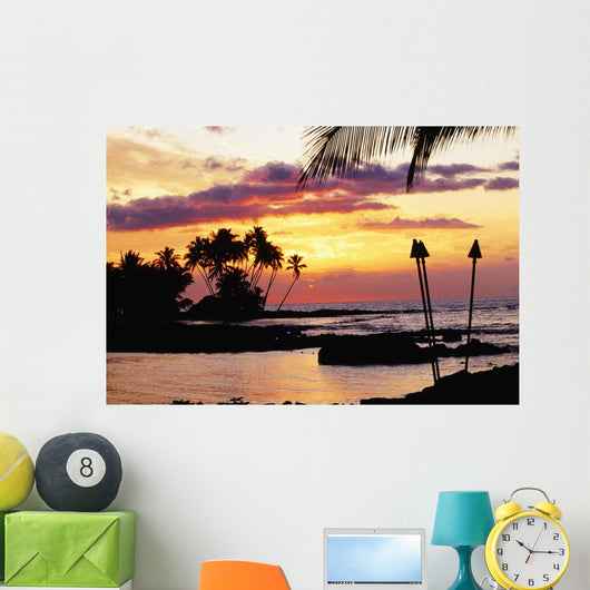 Orange Sunset With Palm Trees And Tiki Torches Wall Mural