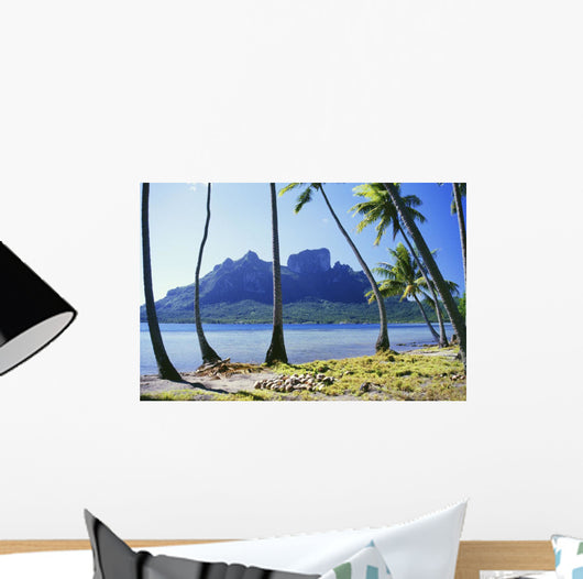 French Polynesia, Tahiti, Bora Bora Coast With Palm Trees Wall Mural