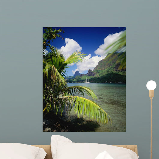 View From Across Cook's Bay With Sailboat Moored Wall Mural