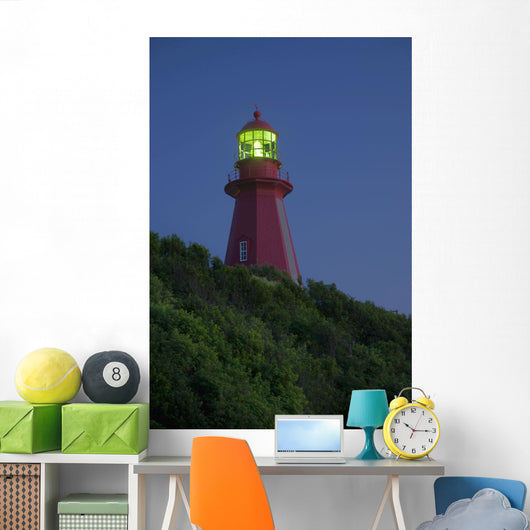 Red Lighthouse Illuminated Wall Mural