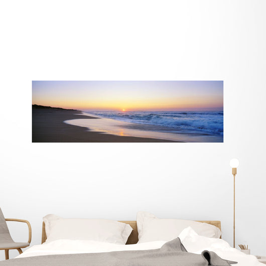 Hawaii, Kauai, Polihale Beach At Sunset, Yellow And Pink Sky Wall Mural