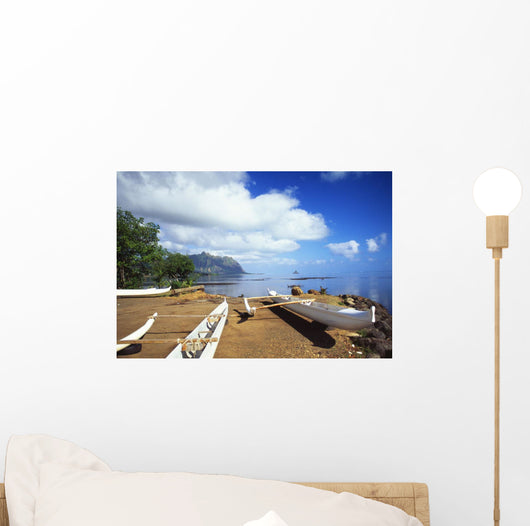Hawaii, Oahu, Waiahole, Outrigger Canoes On Beach, Turquoise Water Wall Mural