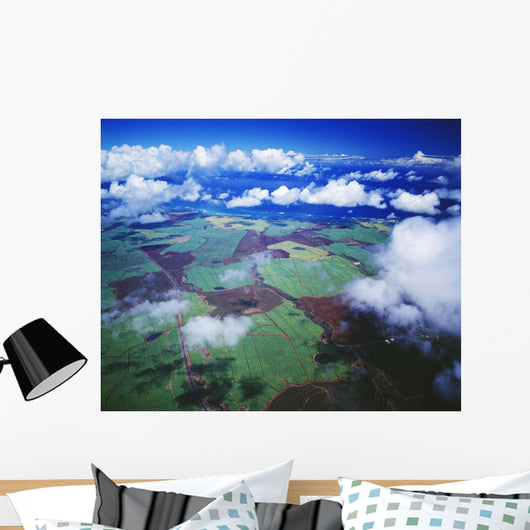 Hawaii, Maui, Aerial View Of Sugarcane Fields In Central Maui Wall Mural