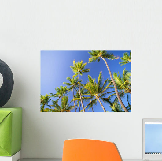 Hawaii, Tall Palm Trees Against Bright Blue Sky Wall Mural