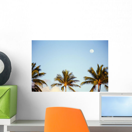 Hawaii, Tall Palm Trees Against Blue Sky, Full Moon Above Wall Mural