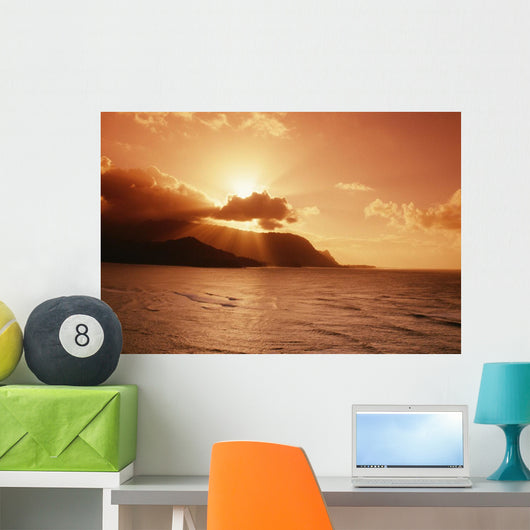 Sunburst From Behind Clouds Wall Mural
