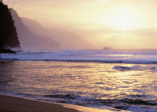 Hawaii, Kauai, Na Pali Coast, Beach At Sunset, Cliffs In Background Wall Mural
