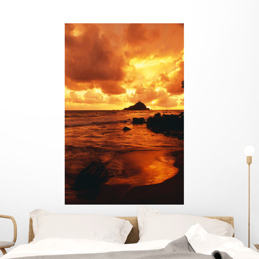 Hawaii, Maui, Hana, Gorgeous Orange And Yellow Sunrise Over The Ocean Wall Mural