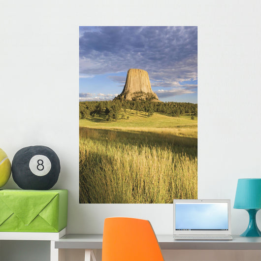 Sunset On Devils Tower Wall Mural