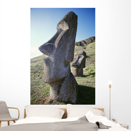 Easter Island, Close-Up Of Moai Stone Statue, Cloudless Blue Sky Wall Mural