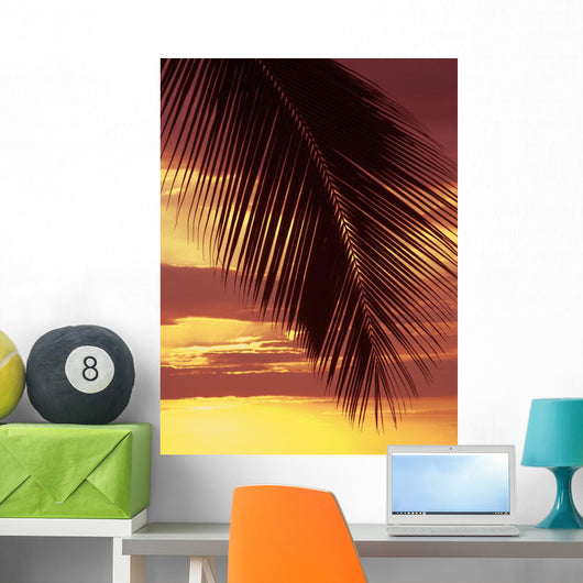Hawaii, Silhouette Of Palm Frond Against Orange Sunset Wall Mural