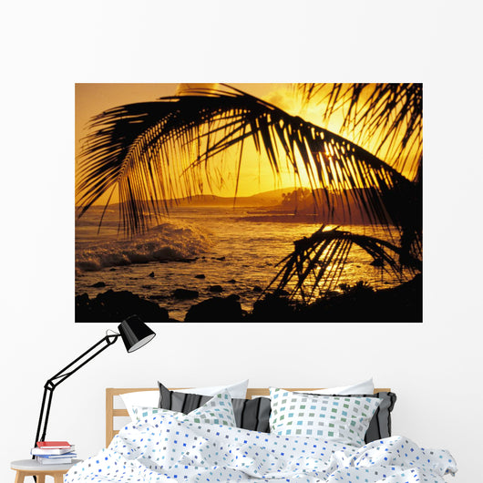 Hawaii, Kauai, Poipu, Tropical Sunset With Palm Fronds Wall Mural