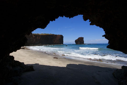Hawaii, Lanai, Pu'u Pehe, Sweetheart Rock Seen From Sea Cave Wall Mural