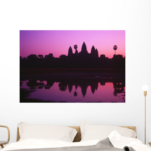 Cambodia, Angkor Wat, Silhouette Of Temple At Sunrise Wall Mural