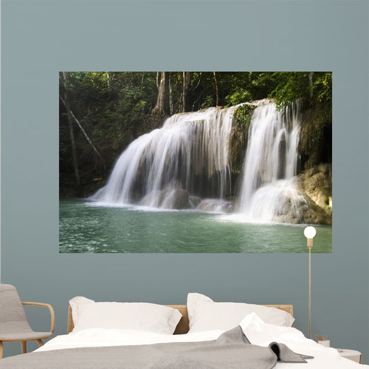 One Of The Falls From The 7-Tiered Erawan Waterfall Wall Mural