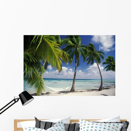Palm Trees Across Beach Wall Mural