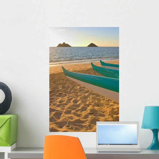 Hawaii, Oahu, Outrigger Canoes On Lanikai Beach At Sunrise Wall Mural