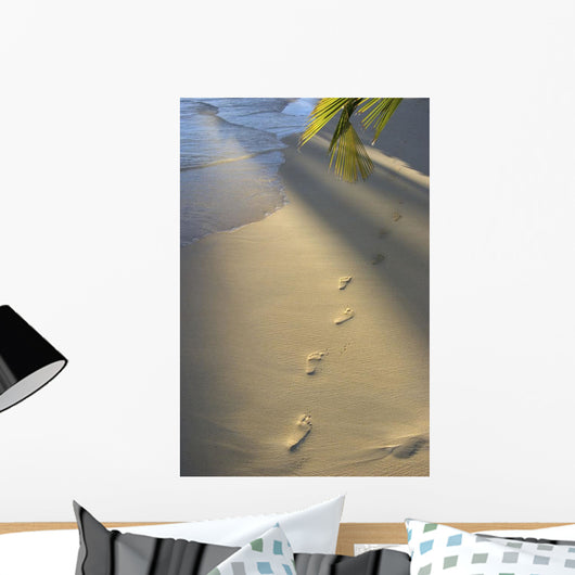 Footprints In Sand At Water's Edge, Soft Warm Golden Light Wall Mural