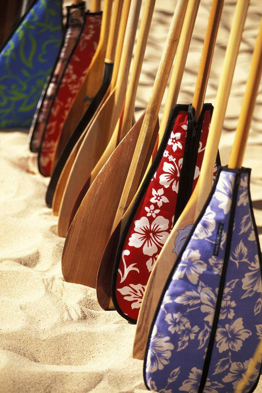 Hawaii, Paddles With Aloha Print Covers Lined Up Across Sand Wall Mural