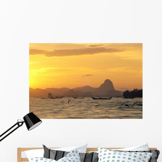 Pier And Mountains At Sunset Golden Orange Sky Wall Mural