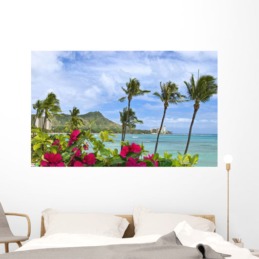 Palm Trees And Bougainvillea Foreground Wall Mural