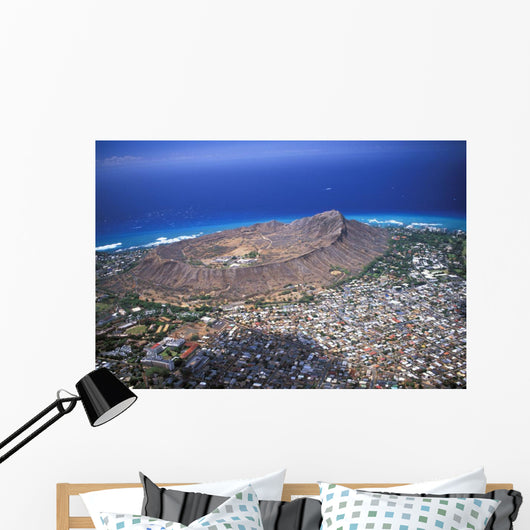 Aerial View Of Diamond Head And Waikiki With Coast And Ocean Wall Mural