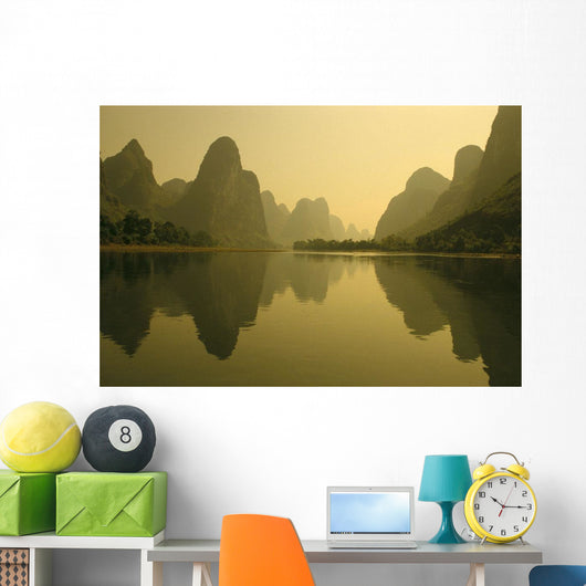 Li River With Reflections In Water A72H Wall Mural