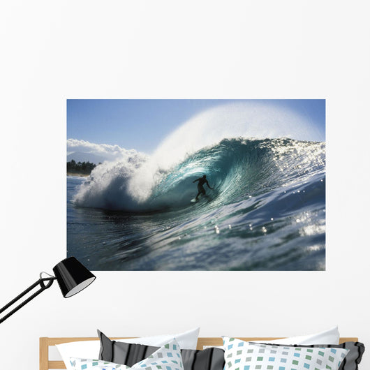 Hawaii, Oahu, North Shore, Shadow Of Surfer In Pipeline Wave Wall Mural