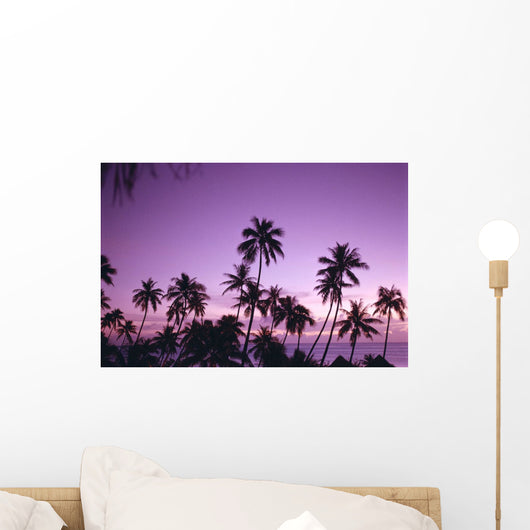 Palm Trees Silhouetted A58B Wall Mural
