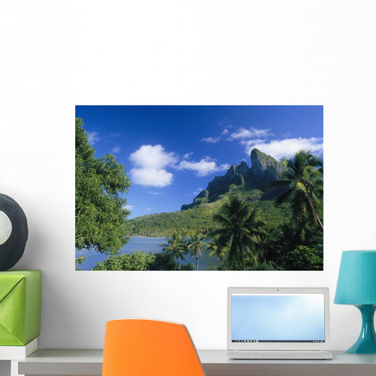 French Polynesia, Bora Bora, Coastal Shot, Mountains With Water A56A Wall Mural