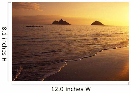 Outrigger Canoe Paddlers Off Lanikai Beach At Sunrise Wall Mural