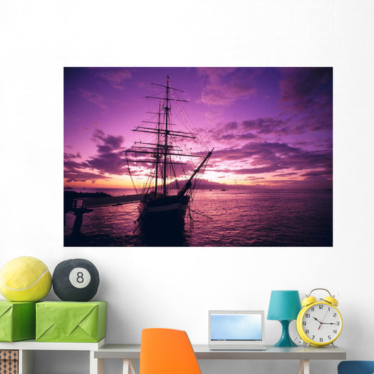Silhouetted Pink And Yellow Sky A46A Wall Mural