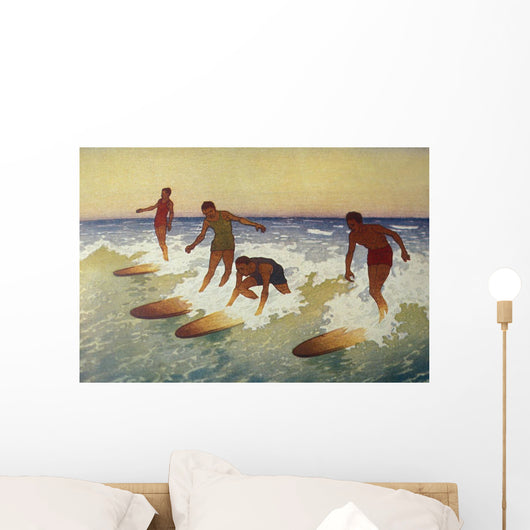 C1927 Hawaii, Painting, Charles Bartlett, 4 Surfers Catching A Wave Wall Mural