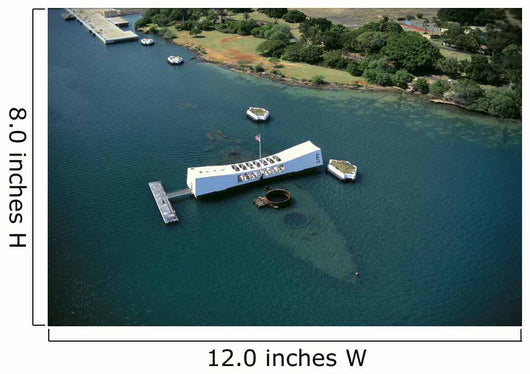 Arizona Memorial Aerial View With Ship Visible Below A42A Wall Mural