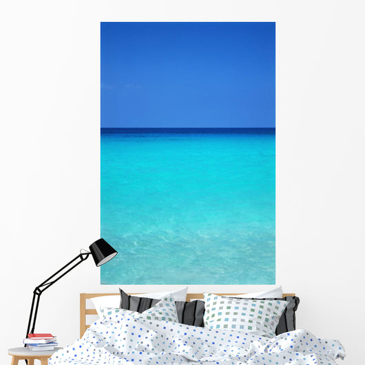 Calm Turquoise Ocean Water To Horizon, Clear Blue Sky A33A Wall Mural