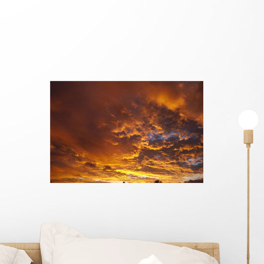 Spectacular Large Clouds At Sunrise, Orange Pink Golden Sky A35F Wall Mural